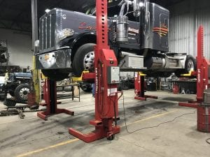 Truck on a lift