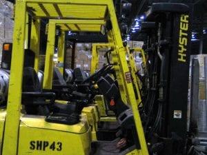 fork trucks in a row